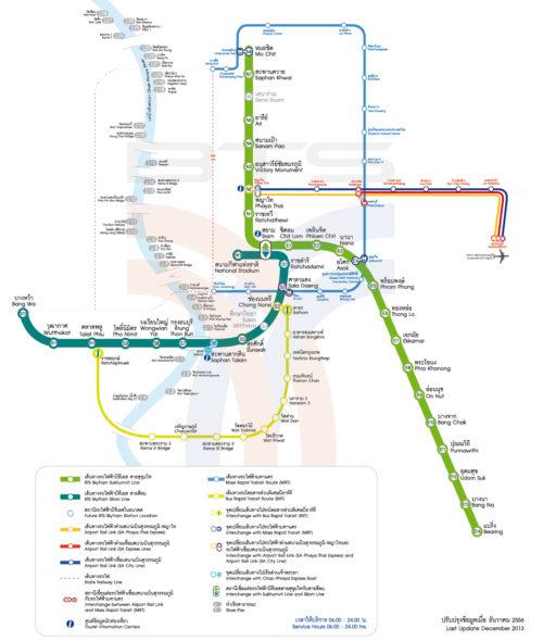 Карта Скайтрейна BTS в Бангкоке