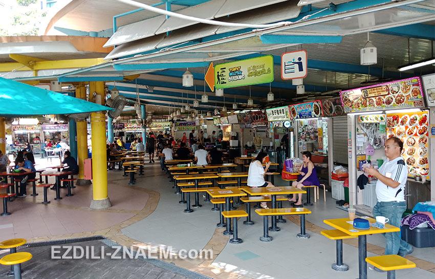 одна из недорогих столовок для местных. Сингапур