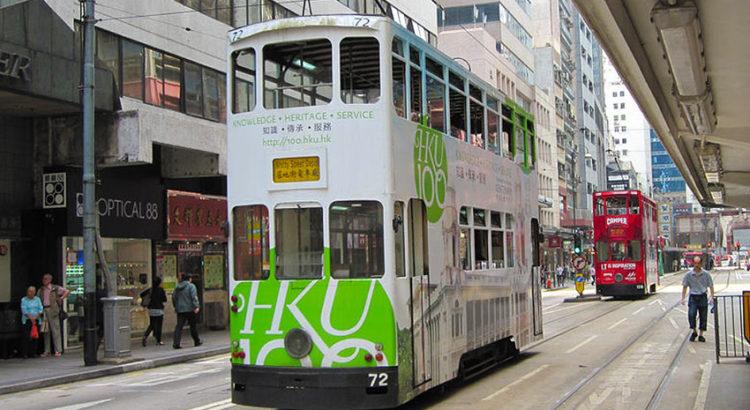 Двухэтажные трамваи в Гонконге