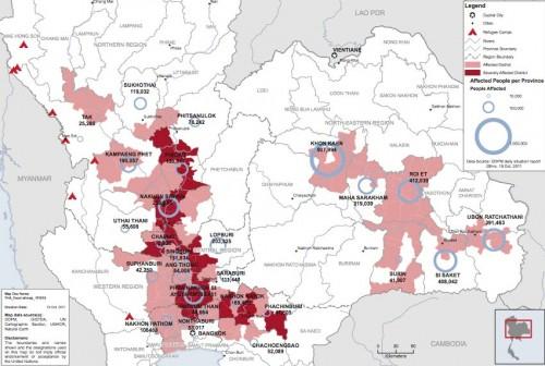Карта наводнения в Тайланде 2011