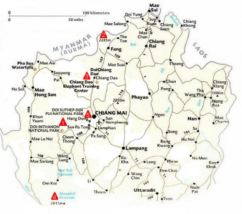 Тайланд: карта гор в Чианг Май