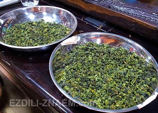 Зеленый чай Улун или Те Гуан Инь на чайном рынке в Гуанчжоу