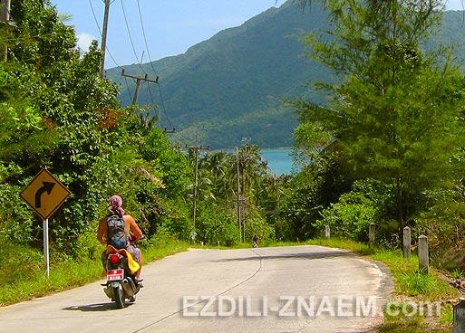 Дороги на Ко Панган в Тайланде