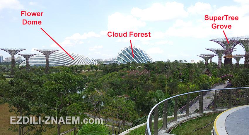 """основные павильоны парка """"Garden by the Bay"""" в Сингапуре"""