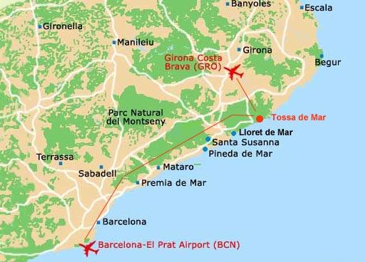 Тосса де Мар на карте Испании