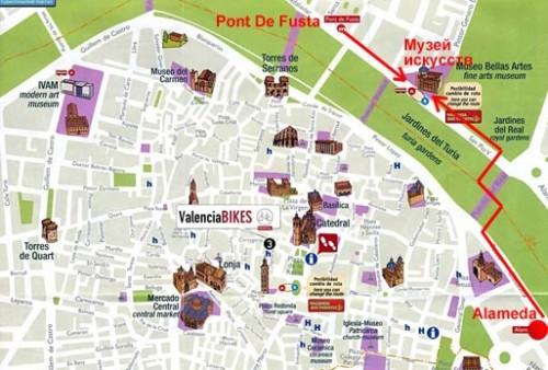 Музей изящных искусств на карте Валенсии