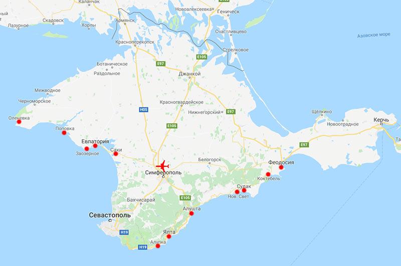 Карта Крыма: основные курорты и аэропорт