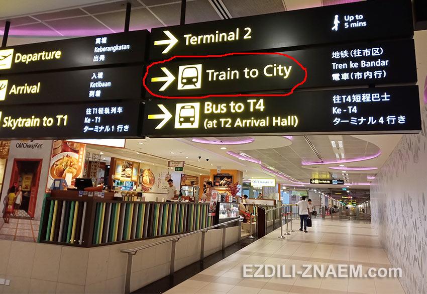 указатели в метро в аэропорту Сингапура