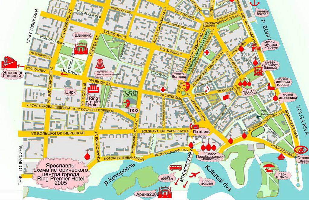 Карта центра Ярославля с достопримечательностями