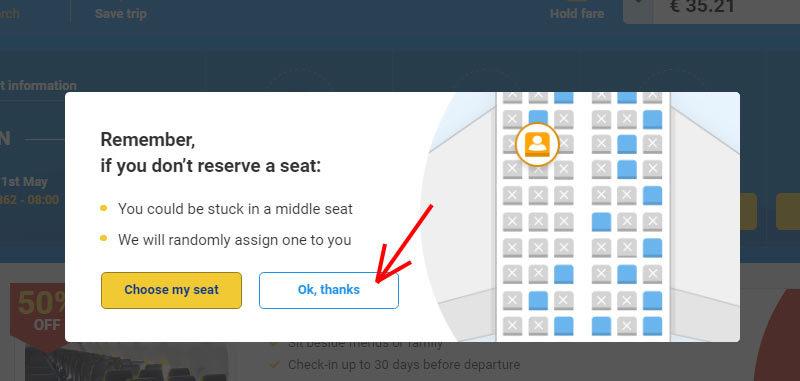 Предложение выбрать место в самолете