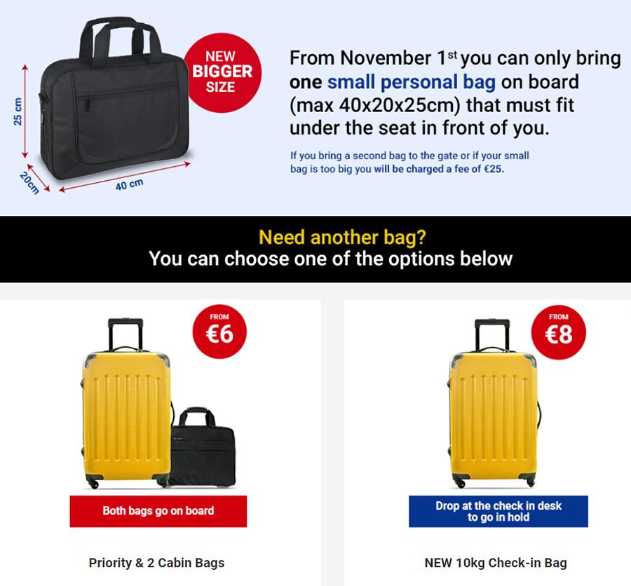 Правила провоза багажа в Ryanair
