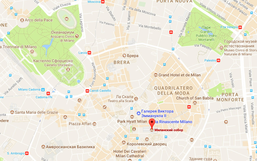Карта Милана с достопримечательностями, на русском языке