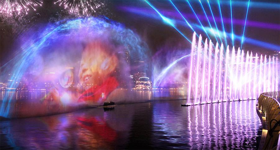 Лазерное шоу над заливом