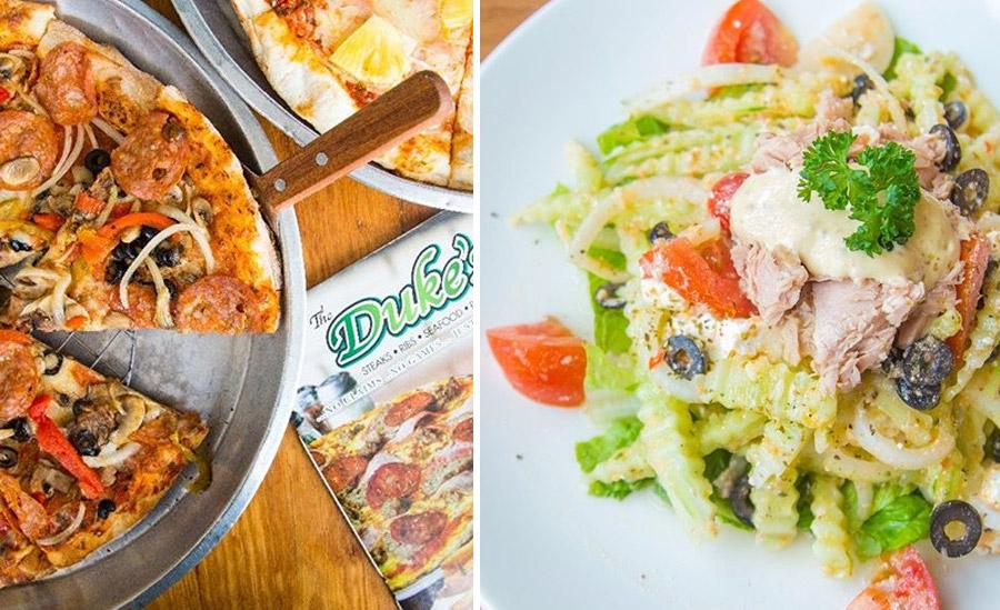 Пицца и салат из тунца в ресторане The Duke's