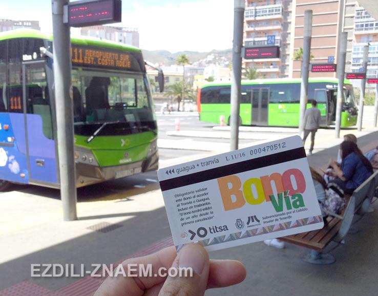 Карточки BONO - удобный способ оплаты на автобусах Тенерифе