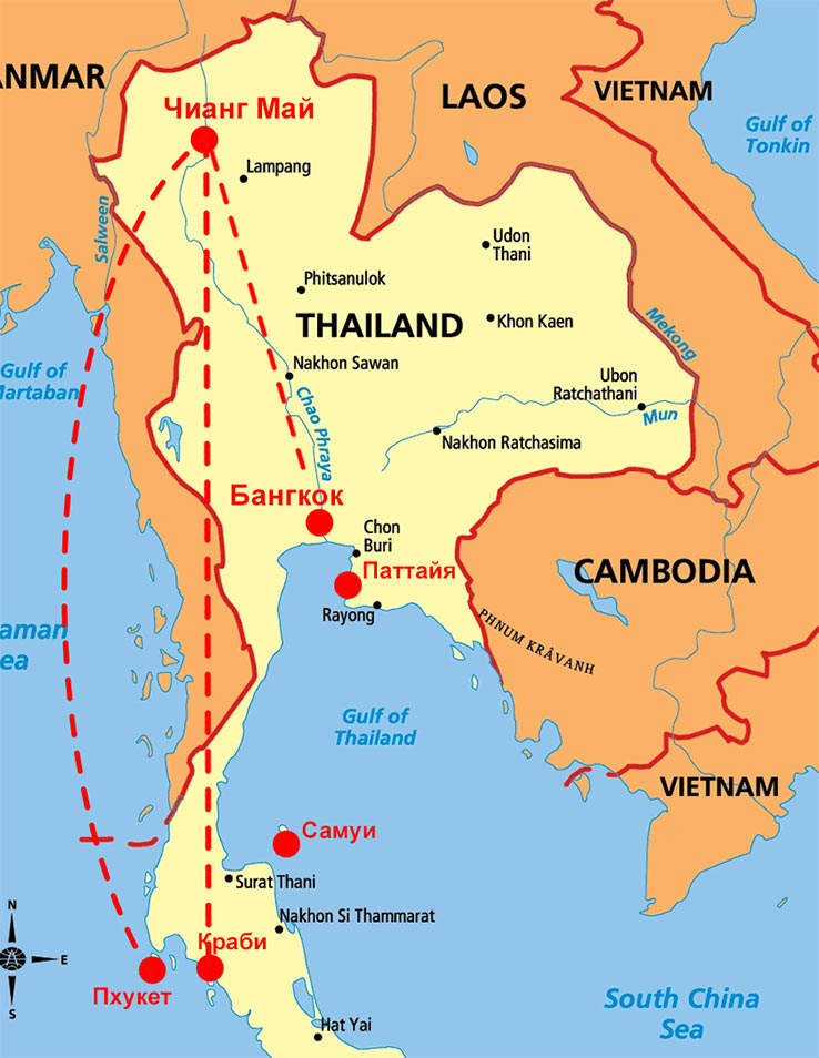 Чиангмай на карте Таиланда