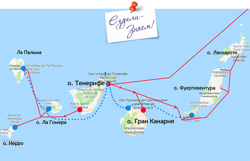 Основные маршруты паромов между Канарскими островами: Armas - крысным, Fred Olsen - синим