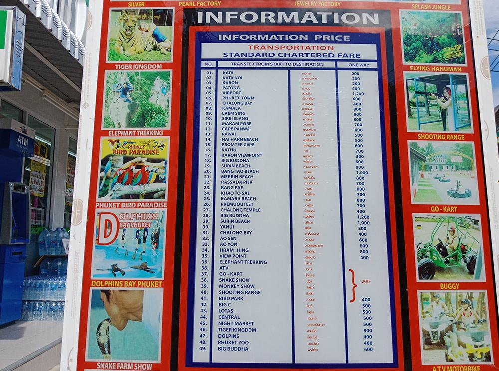 Цены на такси с пляжа Ката