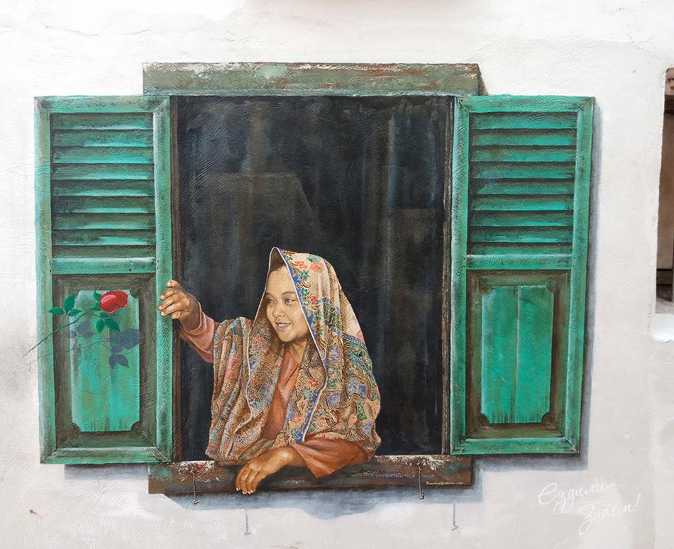 Картина на стене дома