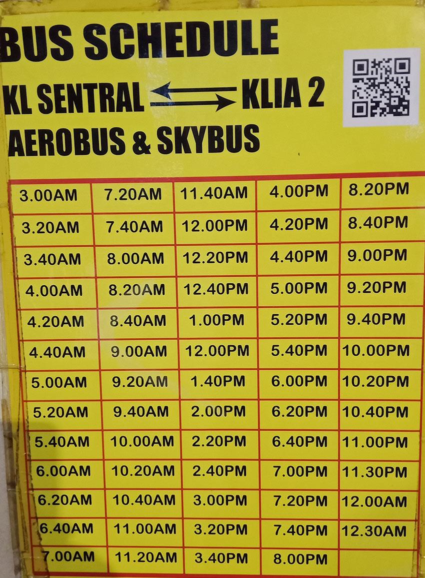 Расписание движения автобусов до аэропорта Куала-Лумпур