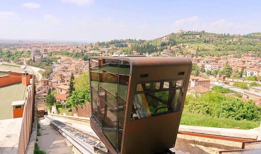 Фуникулер к замку Сан Пиетро в Вероне