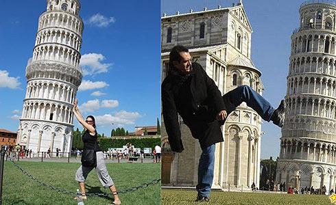 Пизанская башня: туристы позируют