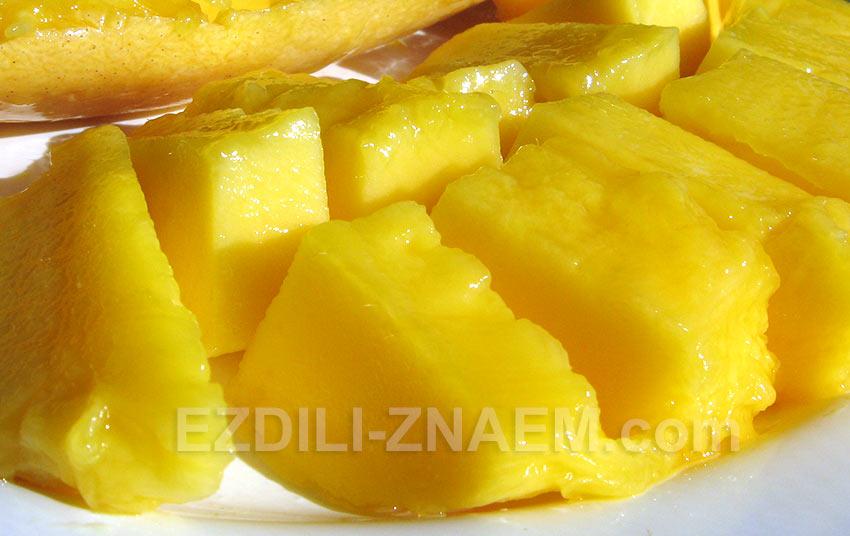 Кусочки спелого манго. Фото