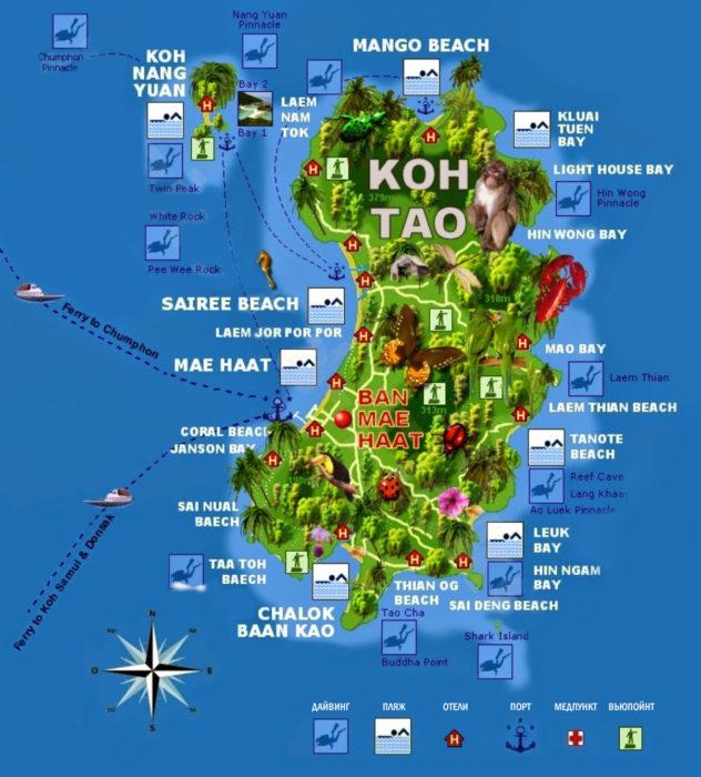 Карта острова Тао в Таиланде