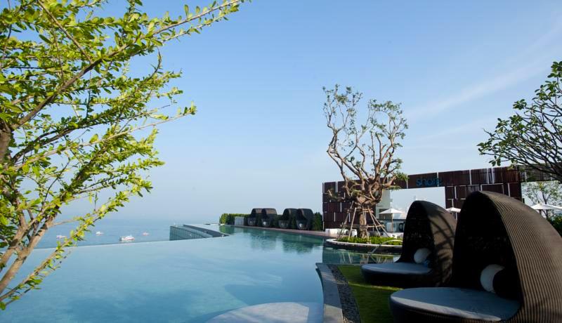 """необычный бассейн с деревьями в отеле """"Хилтон"""". Паттайя"""