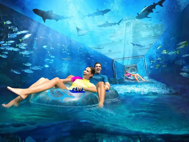 Подводный бассейн отеля Atlantis в Дубае