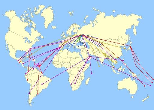 Безвизовые страны на карте