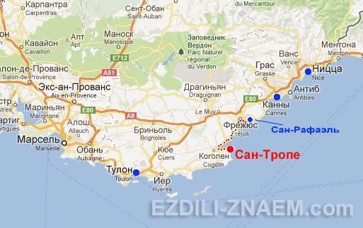 Сан-Тропе на карте. Как добраться до Сан-Тропе из Ниццы или Тулона