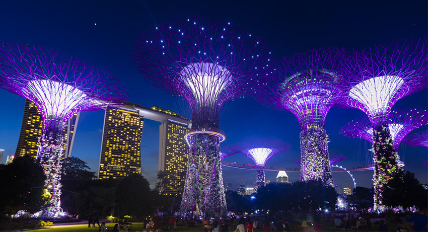 """вечер в парк """"Garden by the Bay"""" в Сингапуре"""