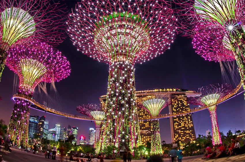 """вечерняя подсветка в парке """"Garden by the Bay"""" в Сингапуре"""