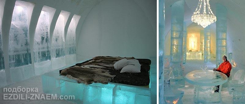 Необычный ледяной отель в Швеции