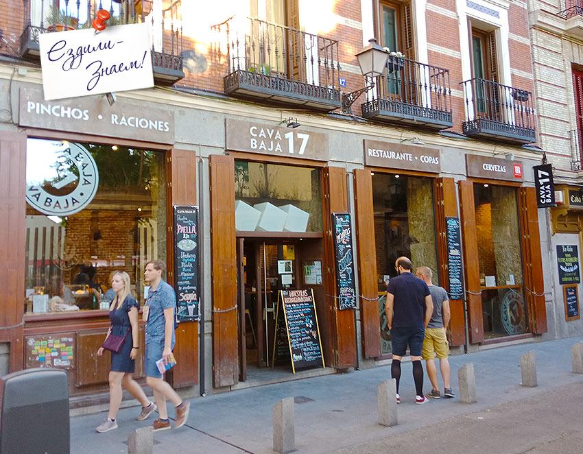 Туристы перед баром в Мадриде