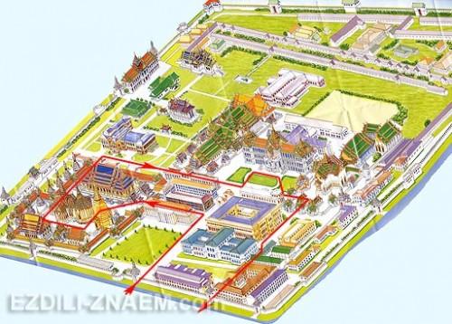 маршрут экскурсии в Королевском дворце в Бангкоке