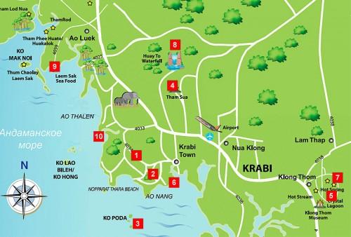 Карта, куда можно съездить в Краби