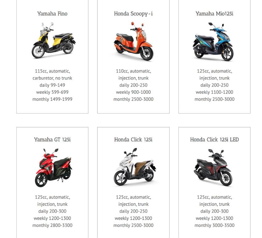 Цены на аренду мотобайков, Чианг Май (Таиланд)