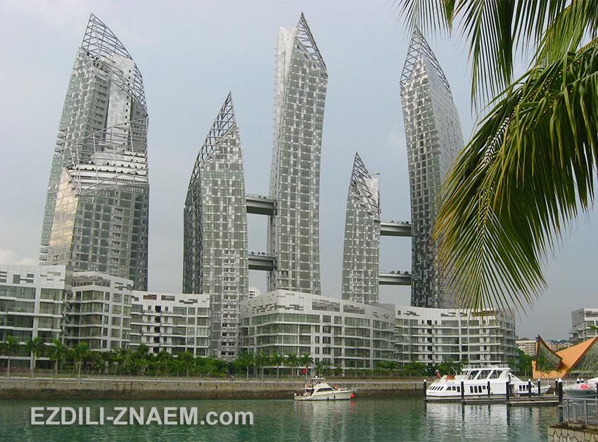 На фото новые небоскребы в заливе Кеппель в Сингапуре