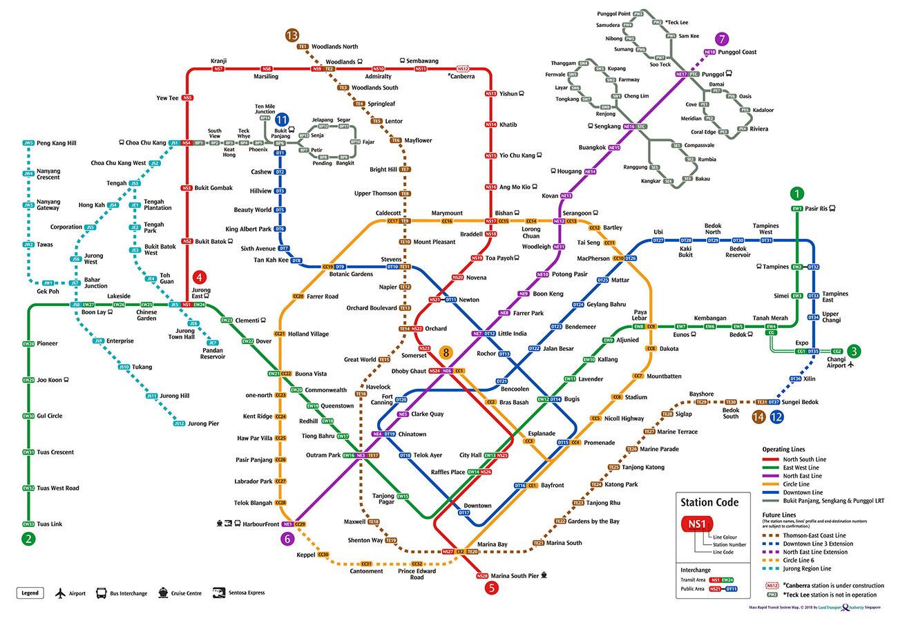 Карта метро Сингапура + все новые линии