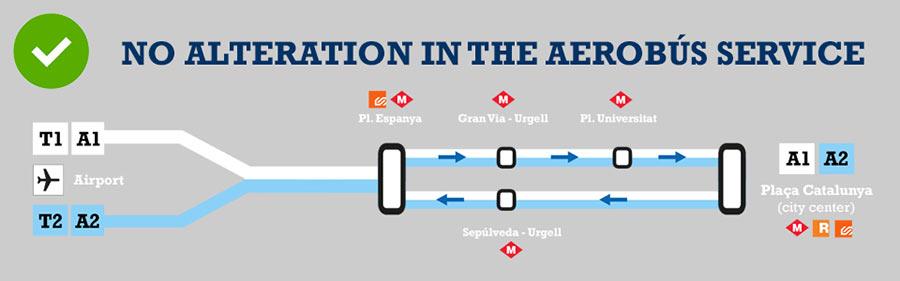 Схема маршрутов автобусов из аэропорта Барселоны