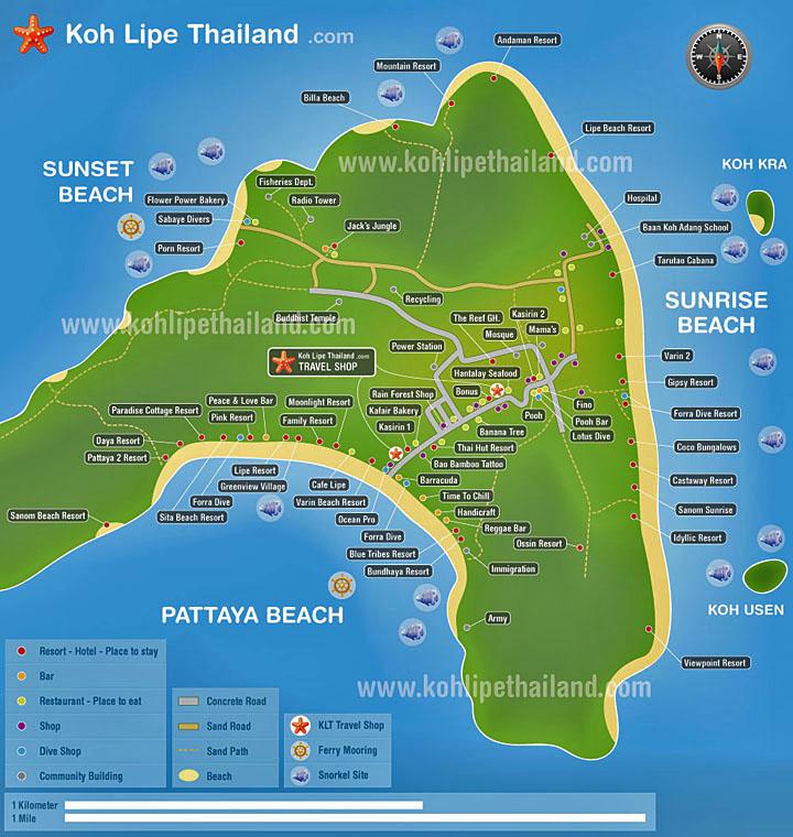 Карта острова Ко-Липе, Таиланд