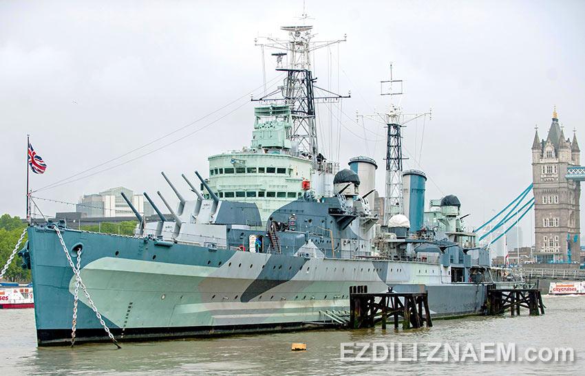 """Корабль-музей крейсер """"Белфаст"""" в Лондоне"""