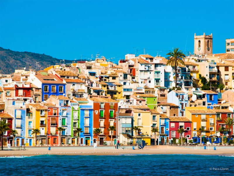 Разноцветные домики Вильяхойоса в Испании