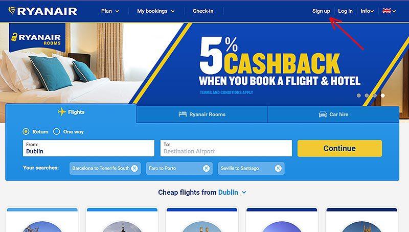Сайт авиакомпании Ryanair