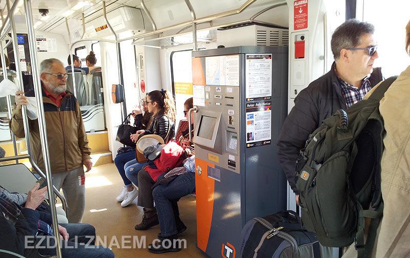 Внутри трамвая из Аликанте в Бенидорм