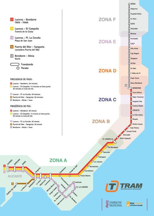 Схема остановок трамвая Аликанте - Бенидорм - Дения