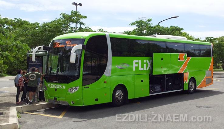 Посадка в автобус FlixBus