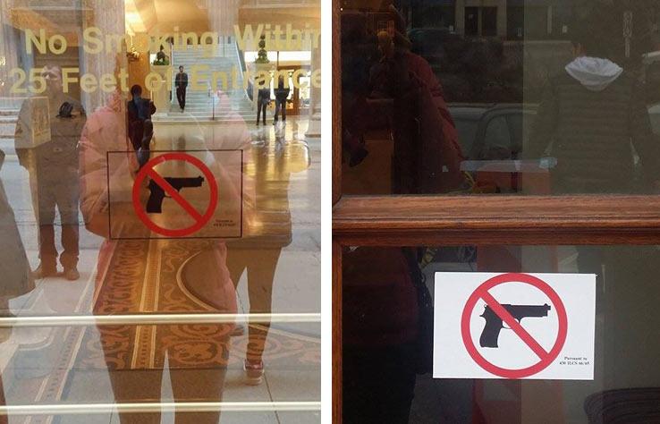 """Знак """"Вход с оружием запрещен"""", Чикаго, США"""